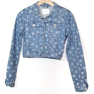 Delia's juniors jean jacket size XS light wash daisy print cropped button front